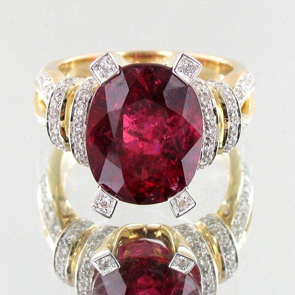 8.14ct Rubellite Tourmaline Diamond 14k Ring