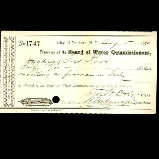 1880 Yonkers NY Water Board Bank Draft
