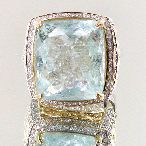24.65ct Crystal Blue Aquamarine Diamond 14k Ring