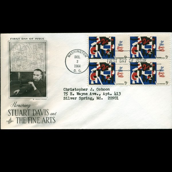 1964 US First Day 4 Block Postal Cover