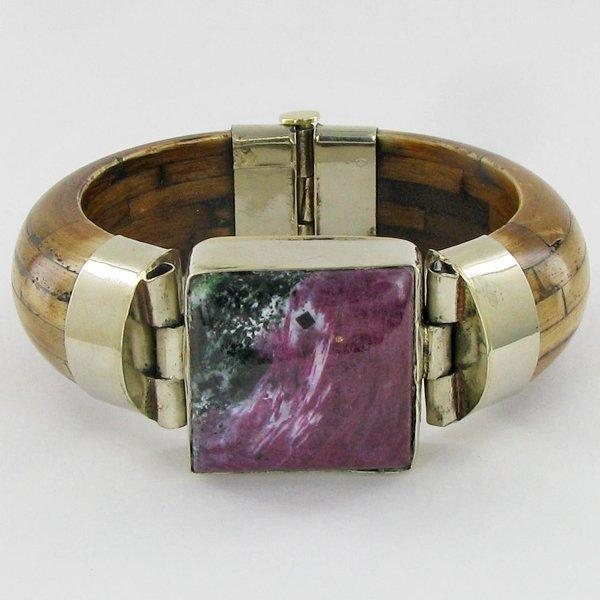 640ct Bone & Ruby Zosite Bangle Bracelet
