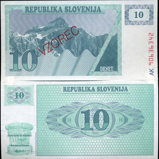 1991 Slovenia 10 T Specimen Crisp Unc Note
