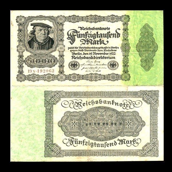 1922 Germany 50000 Mark Note Better Grade