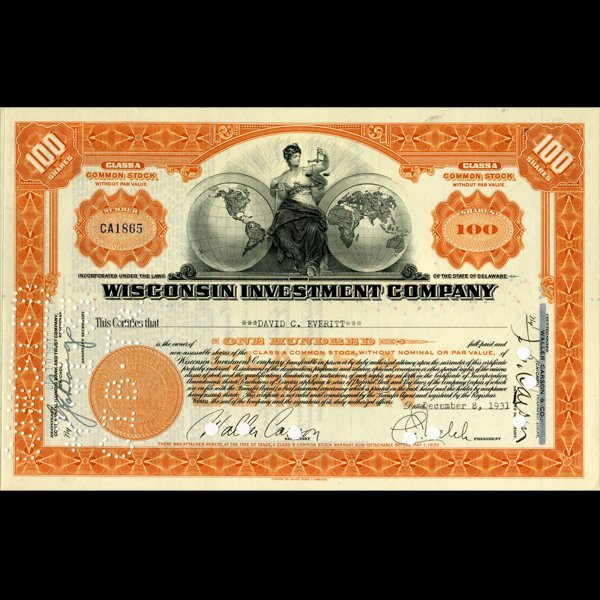 1930s Wisc. Investment Co. Certificate Orange SCARCE