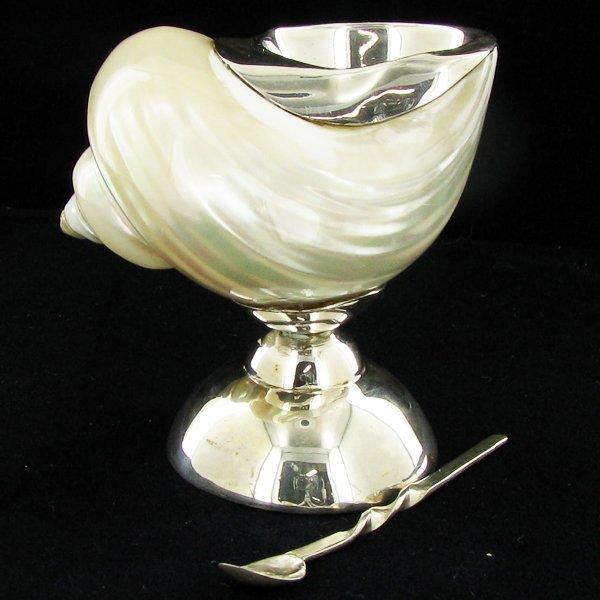 Sterling Silver & Polished Shell Salt Cellar