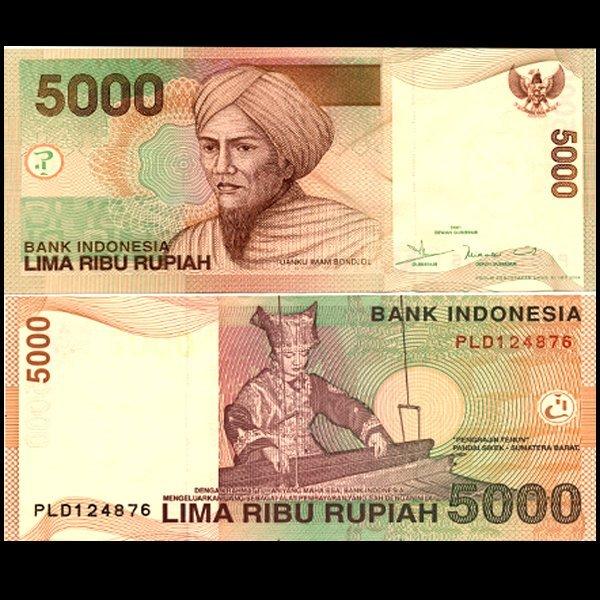 2002 Indonesia 5000 Rupiah Note Crisp Unc