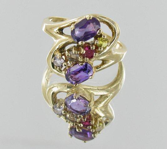 20twc Stinning Ladies 10k Multi-gem Ring