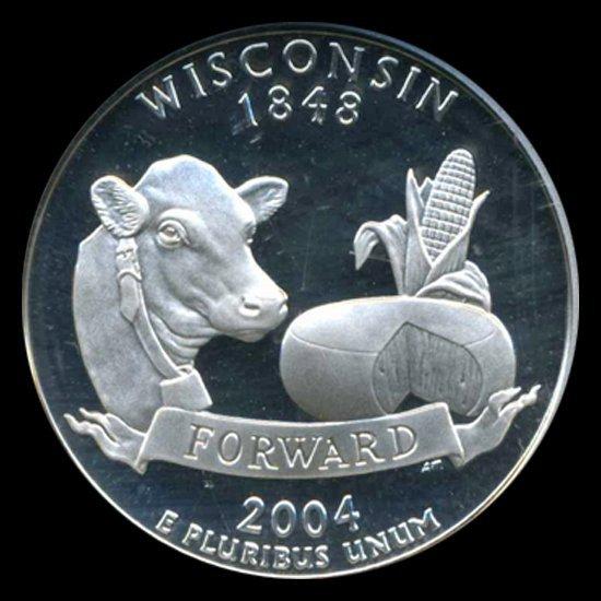 2004S Wisconsin Silver 25c Graded NGC PR70 DCAM