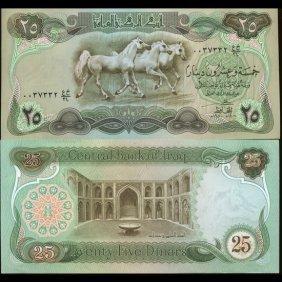 1980 Iraq Horses 25 Dinar Crisp Unc Note Scarce