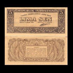 1945 Indonesia 5 Sen Note Crisp Unc