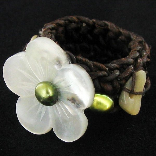 Handcrafted Crocheted MOP Ring