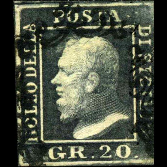 1859 Sicily 20gr Stamp