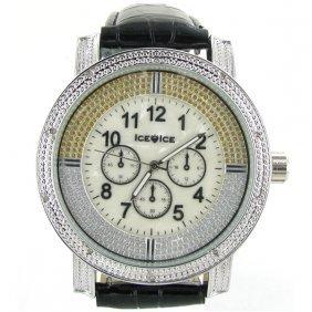 New Ice Time Mens Diamond Bezel Chrono Style Watch