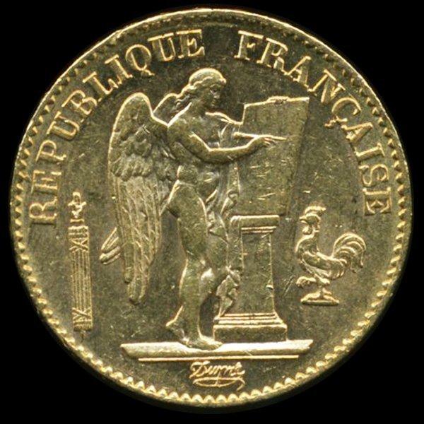 1895 France 20fr Gold Angel AU/BU 6.43gm