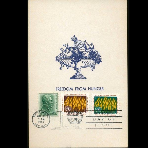 1963 UN First Day Pair RARE w/ US 1c Postal Cover