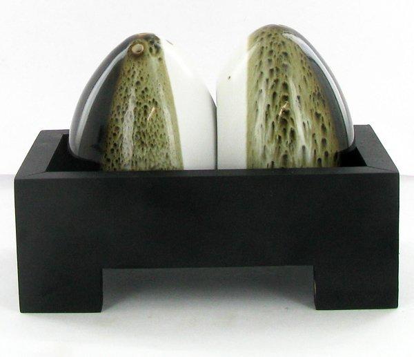 Egg Ceramic Salt & Pepper Shaker Set on Base
