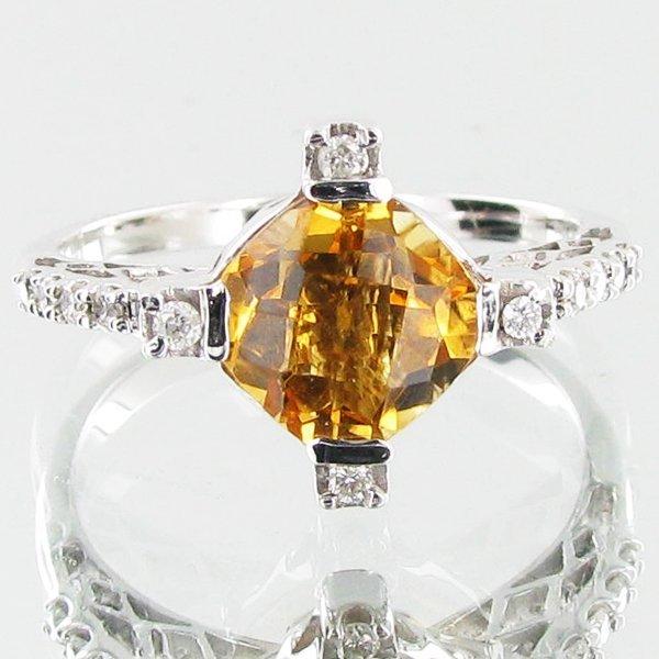 17.54twc Citrine Diamond 14k Gold Ring