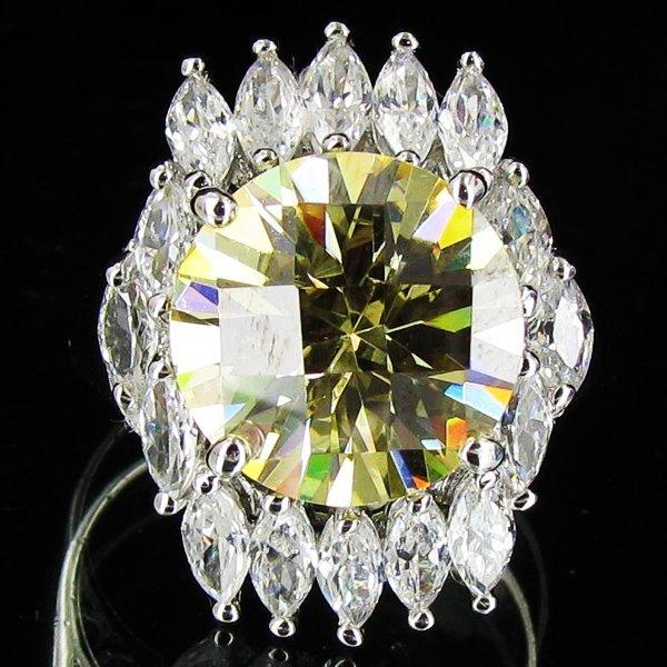43.62twc Yellow Lab Diamond White Gold Vermeil/925 Ring