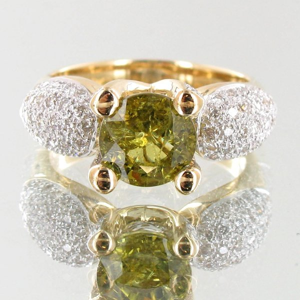 3.25ct Demantoid Garnet Diamond 14k Ring
