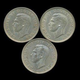 1941-42 Britain Silver 1/2 Crown AU 3pcs