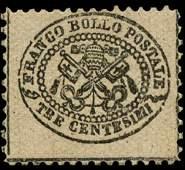 1868 Papal States 3c Stamp MINT Hinged