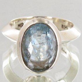 47.55twc Natural Aquamarine Sterling Ring