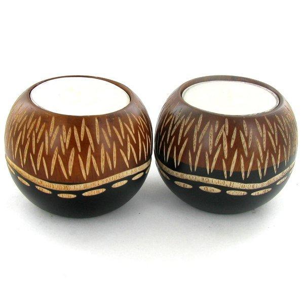 Mango Wood Candle Holder Pair