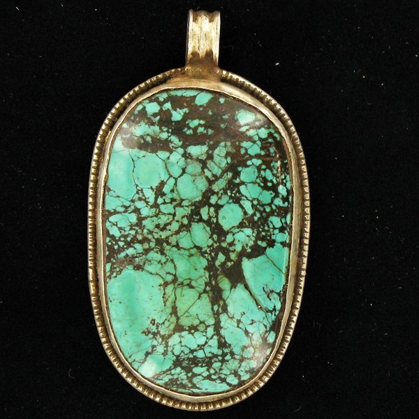 185twc Tibet Silver HEAVY Vintage Turquoise Pendant