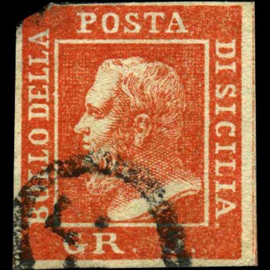 1859 Sicily 5gr Stamp Orange