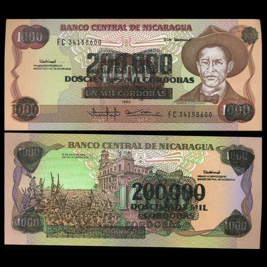 1985 Nicaragua 200k Cordobas Overprint Crisp Unc