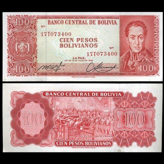 1962 Bolivia 100 Pesos Crisp Uncirculated Note