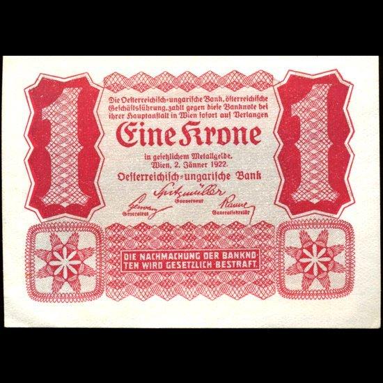 1922 Austria 1 Krone Note Hi Grade