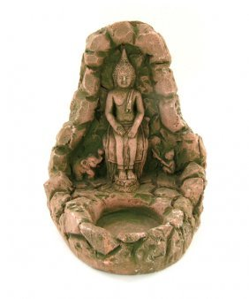 Handcrafted Cast Sandstone Buddha Candle Holder