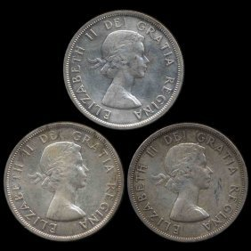 1958 Canada $1 3pcs AU+