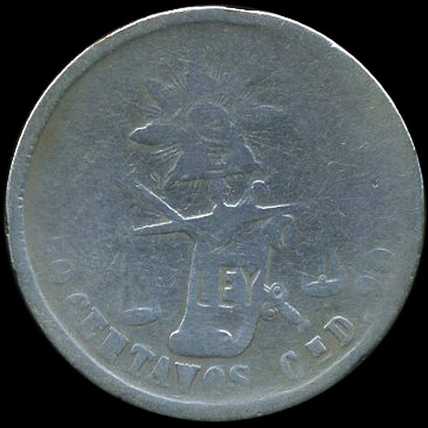 1880 Mexico 50c Circulated