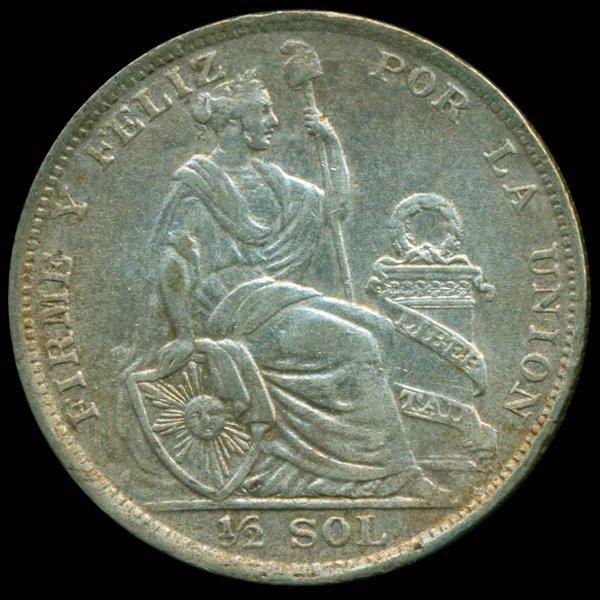 1926 Peru 1/2 Sol Silver AU+