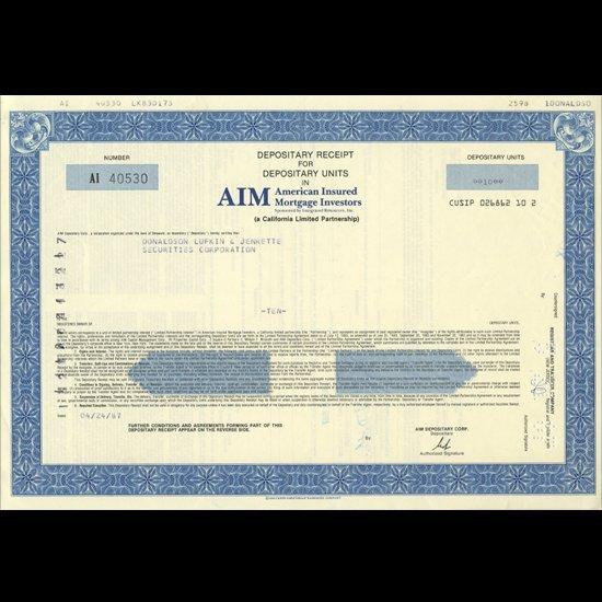 1980s Amer. Insured Mtg. Stock Certificate Scarce
