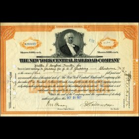 1920s NY Central Railroad Stock Cert w/ SCARCE Transfer