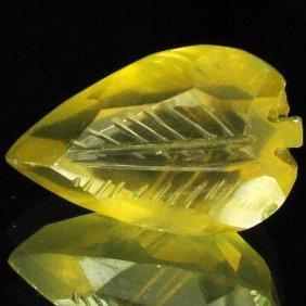 43.1ct Carved Lemon Citrine Leaf