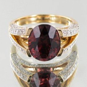 5.47ct Pink Red Spinel Diamond 14k Ring