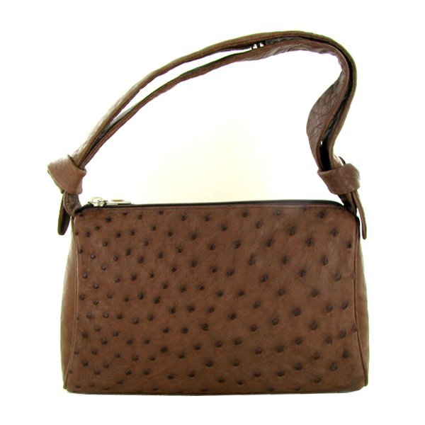 Ladies Brown Ostrich Hide Skin Handbag