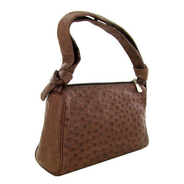 Ladies Brown Ostrich Hide Skin Handbag - 3