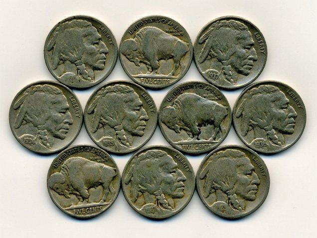 10 US Buffalo Nickel Coin Lot