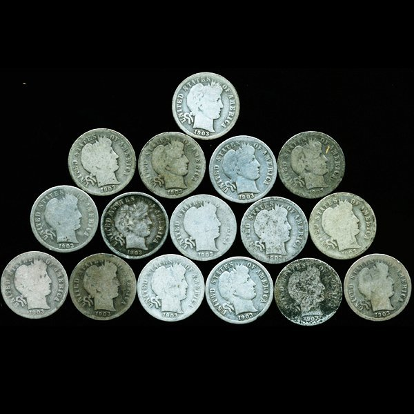 1901P/D Barber 10c Circulated 16pcs