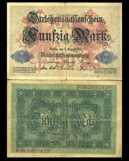 1914 Germany 50 Mark Note Hi Grade Very Scarce