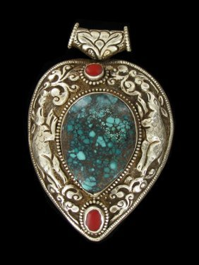 Antique Tibet Gilded Silver Inlaid Heavy Pendant