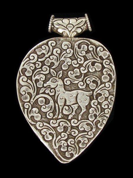 Antique Tibet Gilded Silver Inlaid Heavy Pendant - 2