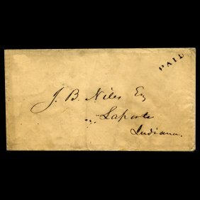 1840s Indiana Stampless Cover SCARCE