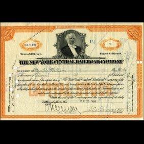 1924 NY Central Railroad Stock Certificate Pre-Depressi