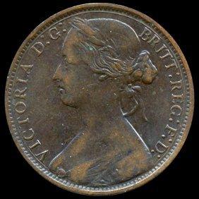 1870 British Victoria Penny Better Grade